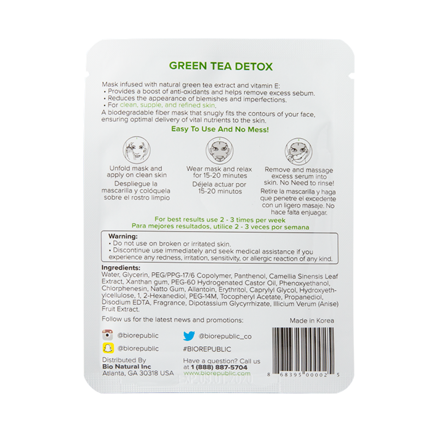 GREEN TEA DETOX PURIFYING FIBER MASK (MASCARILLA PARA ROSTRO)